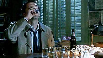 castiel drinking