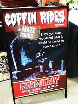 coffin rides sign